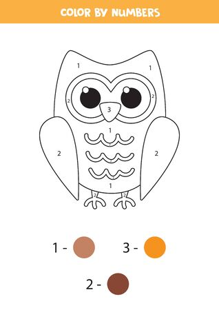 Color cute cartoon owl by colors. Educational game for kids.