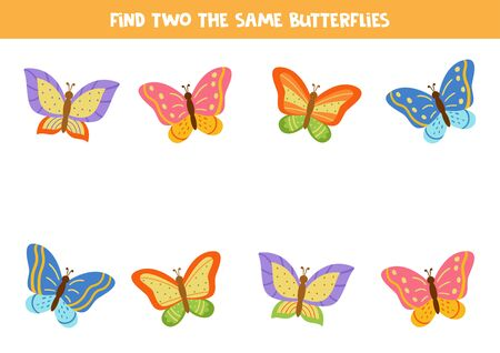 Find two the same colorful butterflies. Logical game for attention.