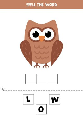 Spell the word owl. Educational game for kids. English grammar puzzle.