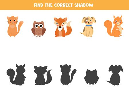 Find the correct shadow of cute animals. Logical game for kids. Cute fox, cat, owl, dog and squirrel.