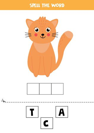 Spell the word cat. Educational game for kids. English grammar worksheet. Vettoriali