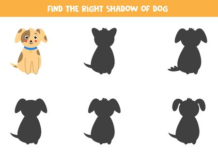 Find the right shadow of cute cartoon dog. Logical game for kids.