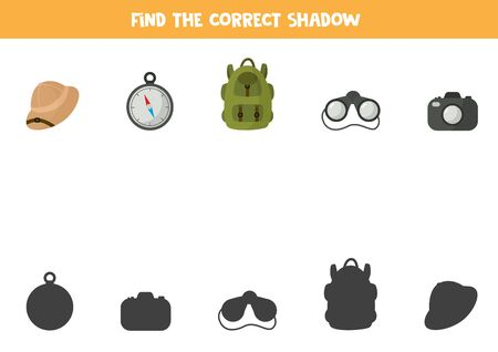 Find the correct shadow of touristic equipment. Cartoon backpack, binocular, hat, camera and compass. Logical worksheet for kids.
