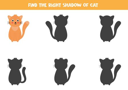 Find the correct shadow of cute cat. Logical worksheet for kids.
