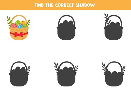 Find the correct shadow of basket full of Easter eggs. Logical game for kids. Ilustración de vector