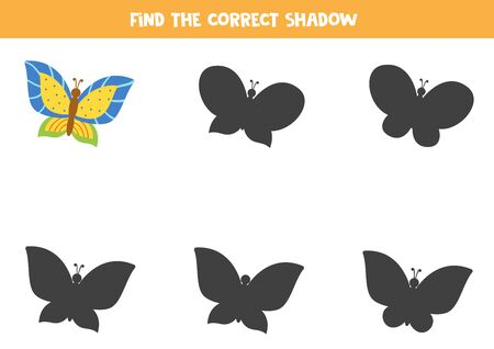 Find the correct shadow of colorful butterfly. Logical game for kids. Ilustración de vector