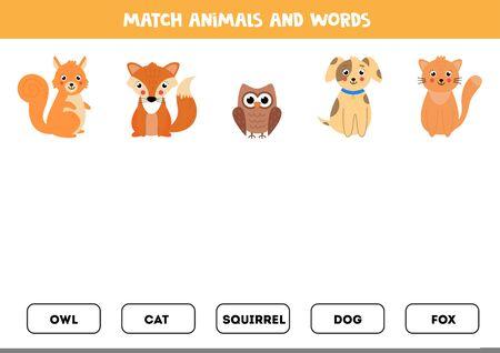 Match animals and written words. Grammar game for children. Read and find. cute cartoon animals. Printable worksheet.