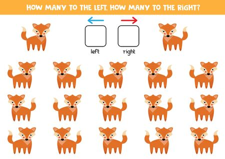 How many red foxes go to the left and how many to the right. Educational game for kids. Illustration