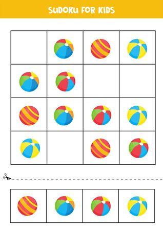 Sudoku pour les enfants. Puzzle éducatif avec des boules de jouets colorées de dessin animé. Feuille de travail imprimable.
