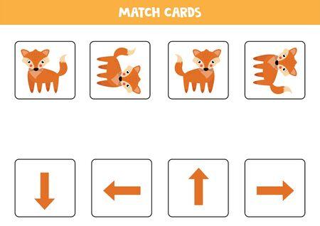Associez les cartes avec le renard et les flèches. Jeu d'orientation pour les enfants. Gauche, droite, haut ou bas. Feuille de travail imprimable.