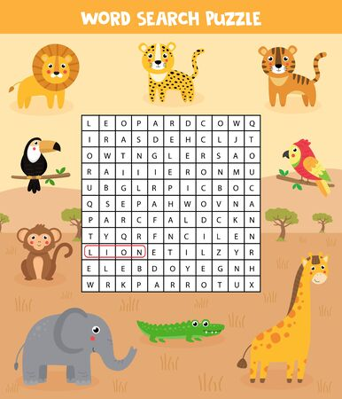 Words search puzzle for kids. African safari animals. Find the words in field. Printable material. Elementary crossword for children.