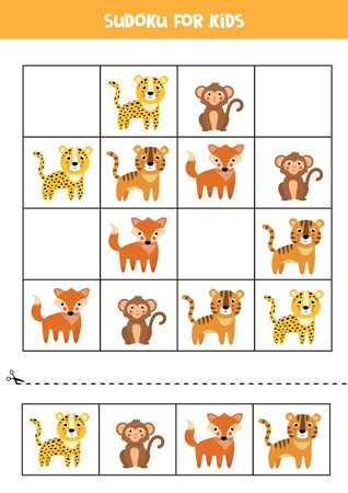 Sudoku for children. Cute cartoon wild animals. Educational logical game for kids.