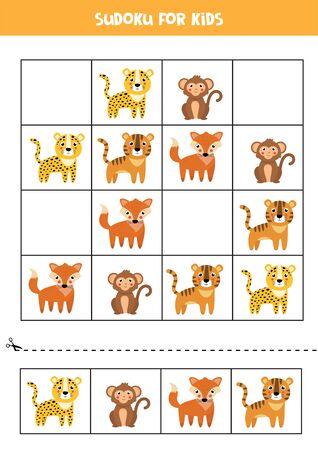 Sudoku pour les enfants. Animaux sauvages de dessin animé mignon. Jeu de logique éducatif pour les enfants. Vecteurs
