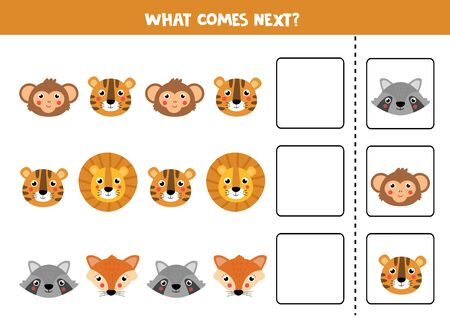 What comes next with cute cartoon animal faces. logical game for kids. Ilustração