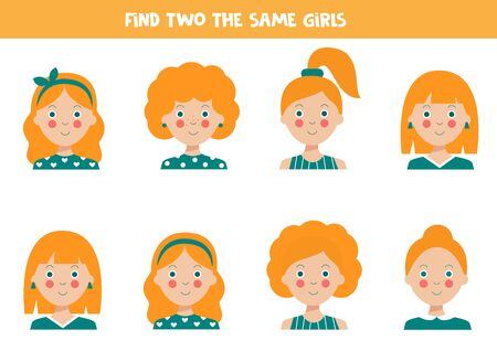 Find two the same girls avatars. Logical game for kids. Cute cartoon girls with different haircuts. Illustration