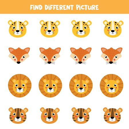 Find different picture of animals in each row. Logical game for kids.