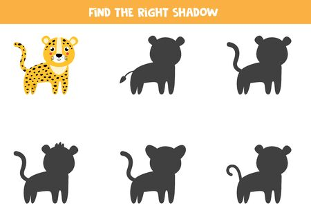 Find the correct shadow of cute cartoon leopard. Educational game for kids.