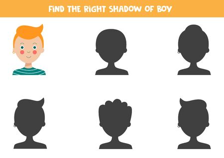 Find the right shadow of cute ginger hair boy. Educational game for kids.