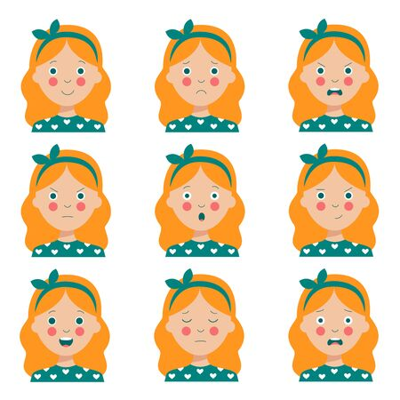 Set of different emotions of the red haired girl. Female character. Cute avatars with various facial expressions. Variety of moods and feelings. Vector illustration in cartoon style.