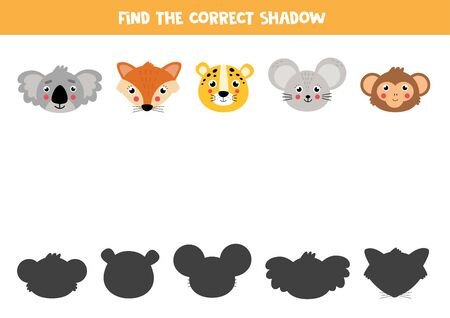 Find the correct shadow of cute cartoon animal faces. Set of wildlife animals. Educational matching game for kids. Worksheet for preschoolers. Vector illustration.
