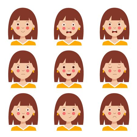 Set of different emotions of the brown haired girl. Female character. Cute avatars with various facial expressions. Variety of moods and feelings. Vector illustration in cartoon style.