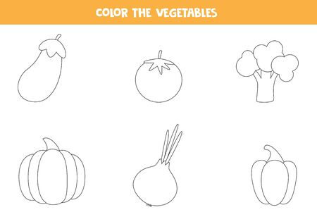 Color cartoon vector vegetables. Coloring page of eggplant, tomato, broccoli, pumpkin, onion, Bulgarian peeper. Educational worksheet for preschool kids. Printable game.