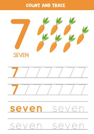 Handwriting practice for kids. Number 7. Seven cartoon carrots. Printable math worksheet for kindergarten children to improve writing skills.