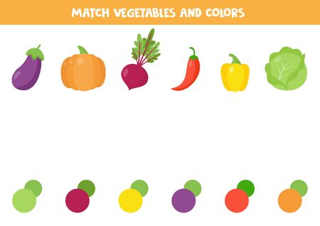 Match vegetables and their colors. Educational worksheet for kids. Color matching game for preschool children, Printable page.