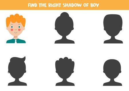 Find the shadow of the red haired boy. Educational logical game for kids. Printable worksheet. Stock Illustratie