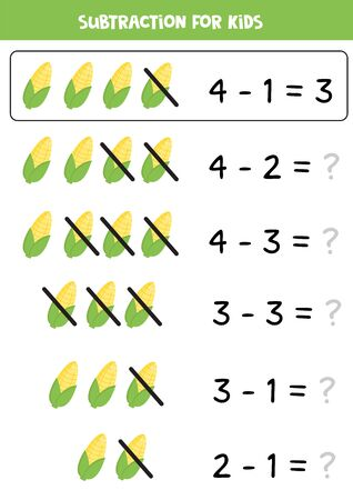 Subtraction for kids with cute cartoon corncobs. Math game for kids. Educational worksheet for children. Learning to subtract numbers.