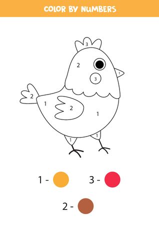 Color cute cartoon hen by numbers. Math game for kids, Educational worksheet for children.