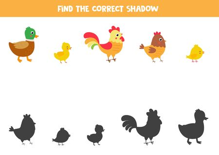 Find correct shadow of each farm bird. Educational game for kids. Logical worksheet for children. Printable material.