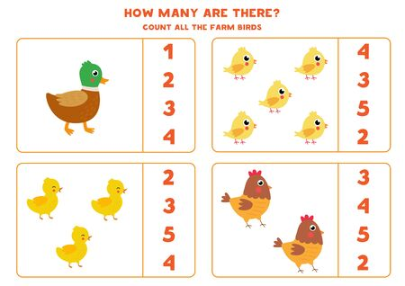 How many farm birds are there. Count the amount of ducks, ducklings, hen, and chickens. Math game for kids. Count and circle the right answer. Illusztráció
