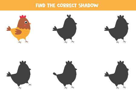 Find the right shadow of cute cartoon hen. Educational game for children. Logical worksheet.