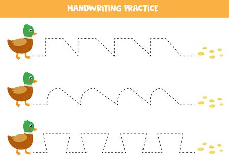Handwriting practice with cute cartoon duck and seeds. Help duck to get to the food. Tracing lines for preschool kids. Learning to write. Printable worksheet.