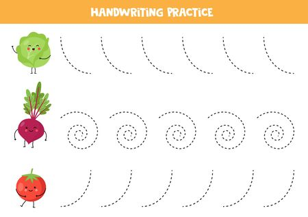 Tracing lines with cute kawaii vegetables. Handwriting practice with cartoon cabbage, beetroot, tomato. Handwriting practice with vegetables.