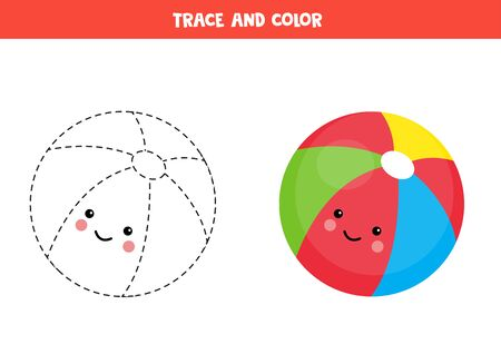 Trace and color cute kawaii toy ball. Educational worksheet for kids. Handwriting practice for kids. Tracing lines for children. Learning to write and to color.