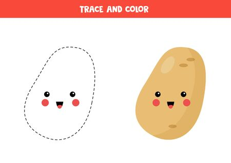 Trace and color cute kawaii potato. Handwriting practice for kids. Tracing lines for children. Learning to write and to draw. Vector Illustration