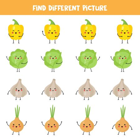 Find the different kawaii vegetables in each row. Cute cartoon yellow pepper, cabbage, garlic, onion. Logical worksheet for children. Printable game. Ilustração