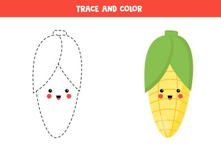 Trace and color cute kawaii corn cob. Handwriting practice for kids. Tracing lines for children. Learning to write and to draw. Ilustração