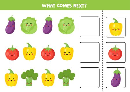 What comes next with cute kawaii vegetable. Cute eggplant, cabbage, tomato, yellow, pepper, broccoli. Educational logical game for kids. Continue the row. Ilustração