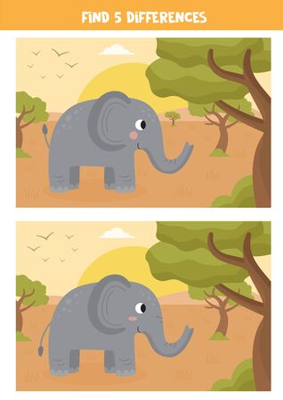 Find five differences between the pictures. Summer safari landscape with cute cartoon elephant. Spot differences. Logical game for kids. Illustration
