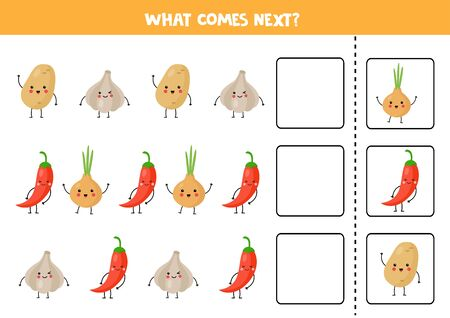 What comes next with cute kawaii vegetable. Cute potato, garlic, red pepper, onion. Educational logical game for kids. Continue the row. Ilustración de vector
