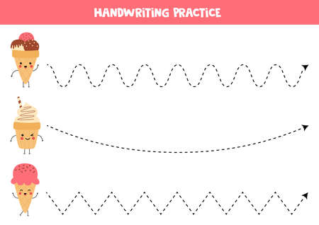 Tracing lines with cute kawaii ice creams. Handwriting practice for kids. Printable worksheet for preschoolers. Learning to write.