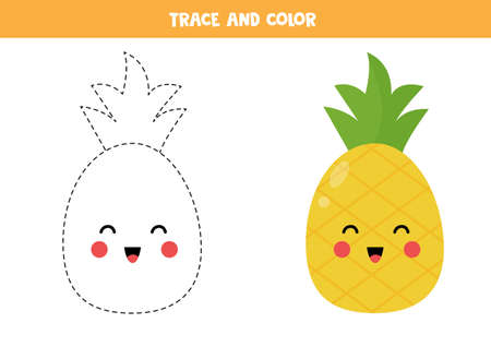 Trace and color cute kawaii pineapple. Coloring page for kids. Handwriting practice for preschoolers. Learning to write and to draw.