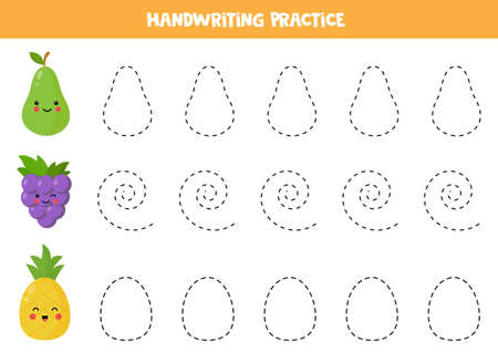Handwriting practice with cute kawaii pear, grape and pineapple. Educational worksheet for kids. Tracing lines for preschoolers. Practicing writing skills. Learning to write and to draw.