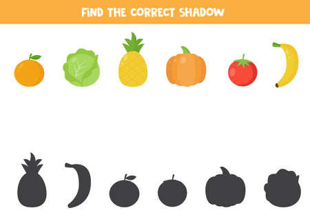 Find the correct shadow of cute cartoon fruits and vegetables. Logical game for preschool kids. Printable worksheet.