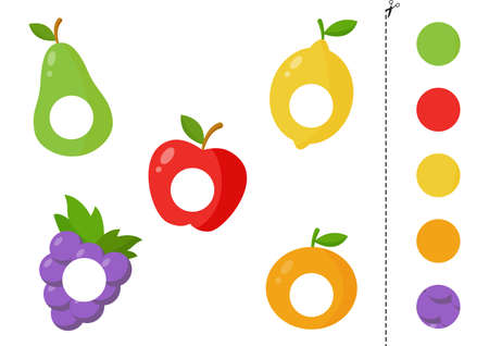 Cut and glue parts of cartoon vector fruits. Educational logical game for kids. Matching game for preschoolers.
