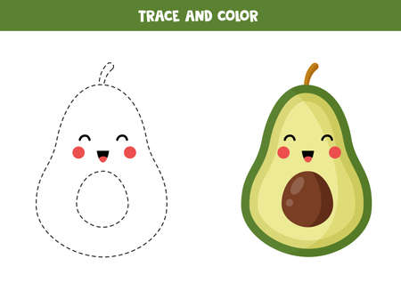 Trace and color cute kawaii avocado. Educational printable game for kids. Coloring page for preschoolers. Handwriting practice for children. Çizim