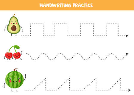 Tracing lines with cute kawaii avocado, cherry, watermelon. Vektorové ilustrace